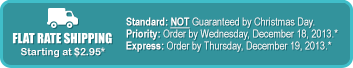 Standard: NOT Guaranteed by Christmas Day. Priority: Order by Wednesday, December 18, 2013.* Express: Order by Thursday, December 19, 2013.*